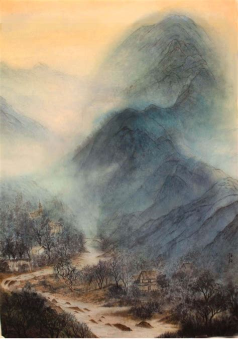 Landscape Of Slovenia Ink Painting By Grace Auyeung